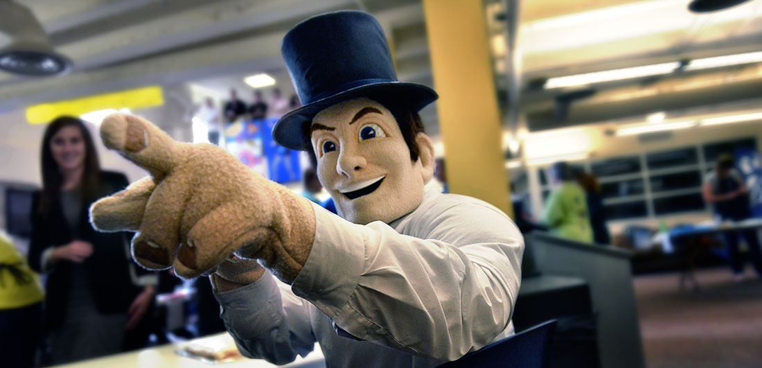 Ichabod points to something exciting during a Homecoming 2014 event in the Memorial Union.