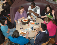 Students eating in Stauffer Commons as seen from above-11