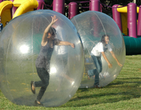 Students inside giant balls for family day activity on Union lawn-7