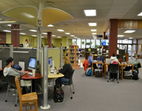 Students studying for finals in Mabee Library-6