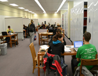 Students studying in Mabee-7