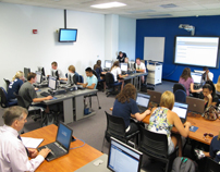 First Year Experience class in the information literacy suite at Mabee Library-4