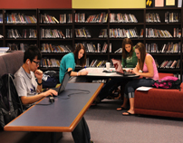 Students studying in Mabee Library-11