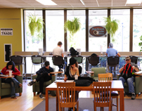 Students studying at the Study Grounds coffee bar in Mabee Library-9