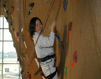 Student climbing rock wall at SRWC-4
