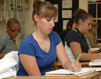 Physical therapist assistant students studying in Petro classroom-4