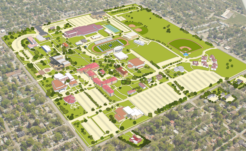 Overhead view of the Washburn campus