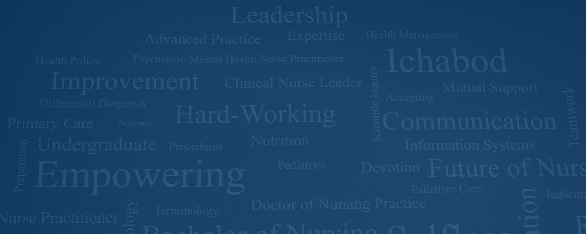 A word cloud of key concepts related to nursing.