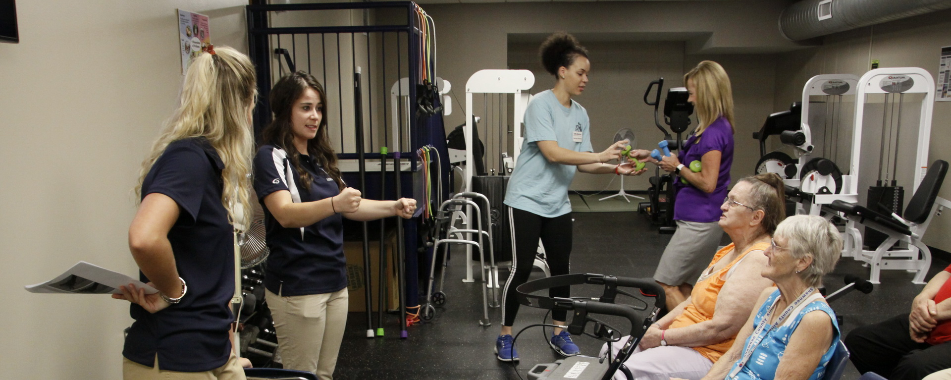Washburn Athletic Trainers working with participants