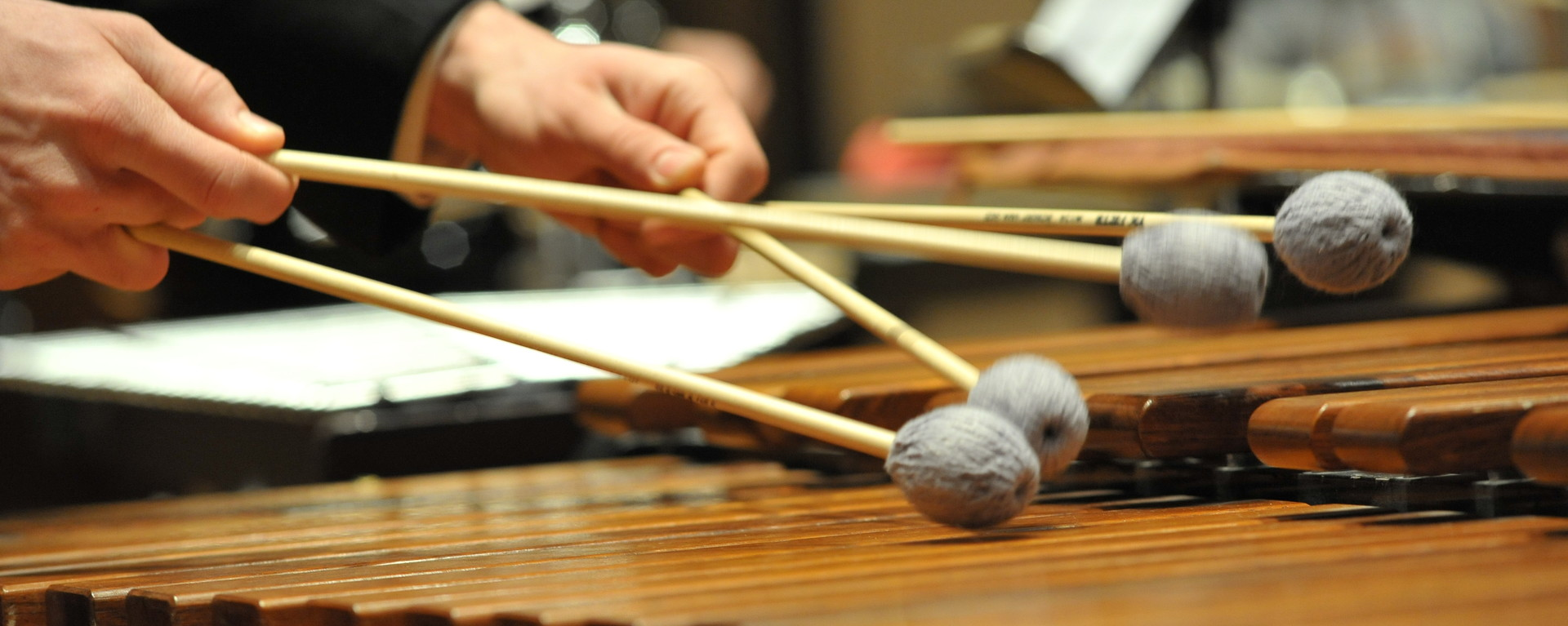Closeup image of a person playing the xylophone