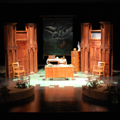 Theatre production stage set for 'Doubt'