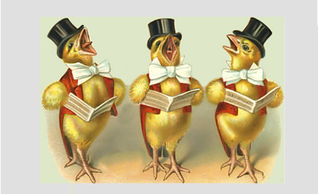 Illustration of three baby chicks in top hats singing