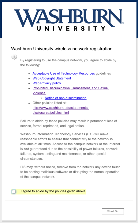 Washburn University wireless network registration policy