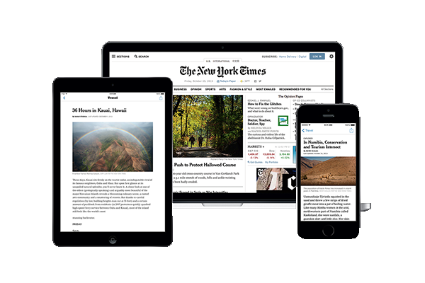 New York Times website on laptop and mobile devices