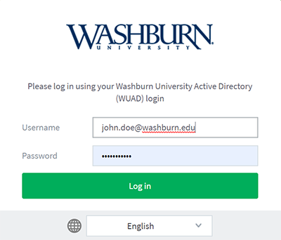 screen capture of printing login