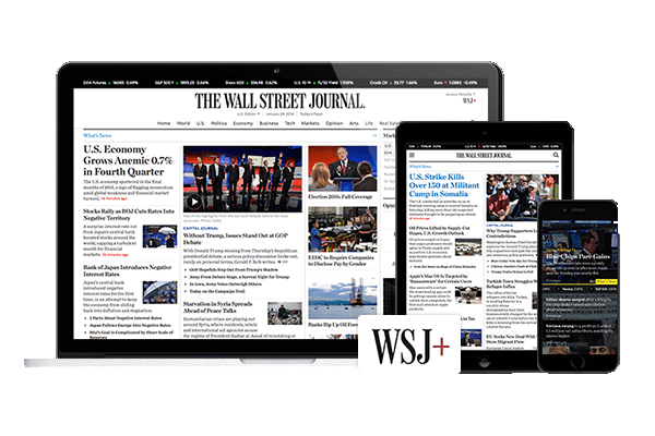 Wall Street Journal on a news paper and on mobile devices