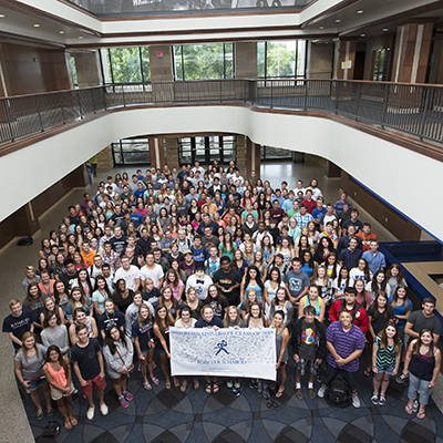 class of 2019 students inside Morgan Hall