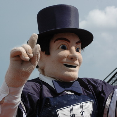 Mr. Ichabod mascot at a football game
