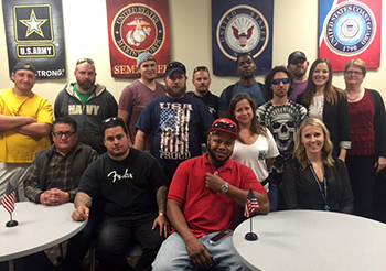 Group of students in the Veterans Success Center