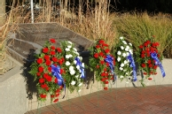 Wreaths at the Vietnam War Memorial at Washburn