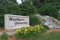Washburn waterfall- entrance to campus