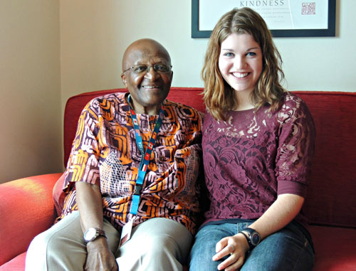 Desmond Tutu and Emily Juhnke