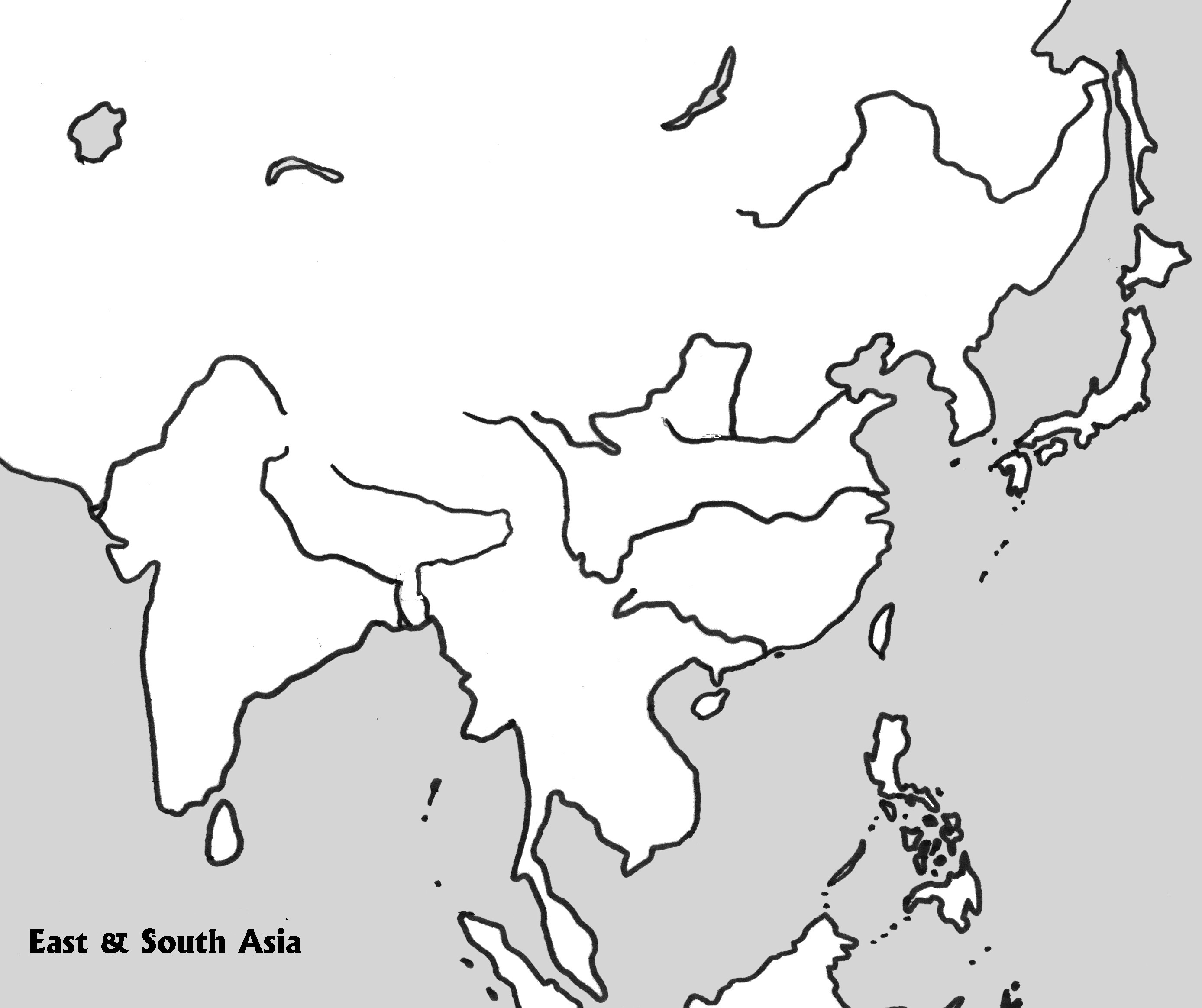 Physical Outline Map of E & S Asia