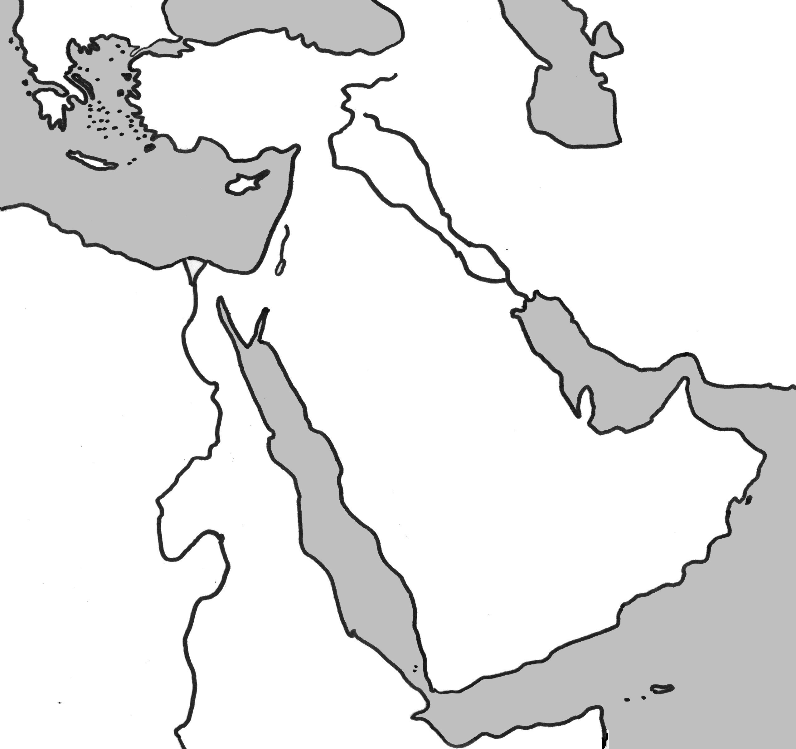 Physical Outline Map of the Middle East