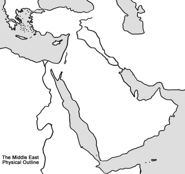 Middle East Physical Outline Map - Middle east outline map