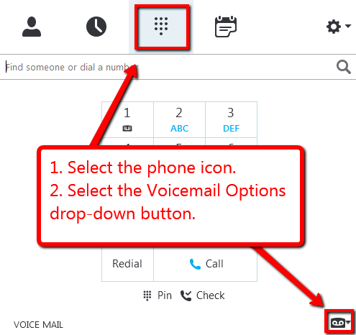 In Skype select phone icon then select drop down button