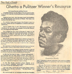 gwendolyn brooks style Gwendolyn brooks's imposing stature as a poet has long been recognized, and  her  not usually on a technical, style-oriented basis yet, to examine her poetry.
